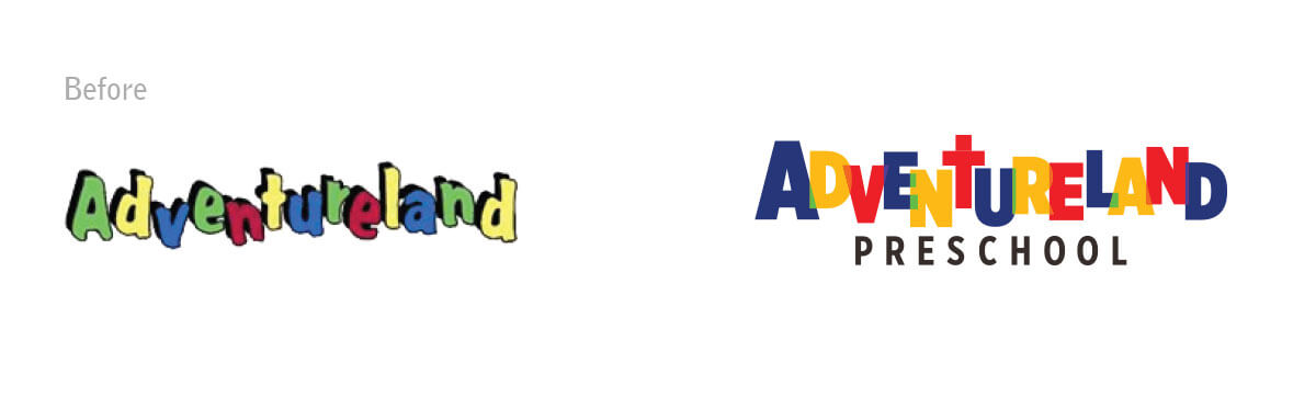 Adventureland logo before and after